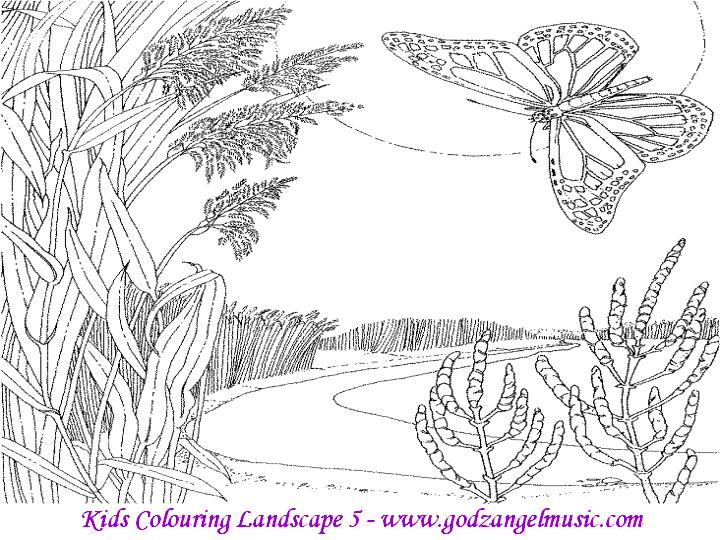 Nature Scenery Coloring Pages